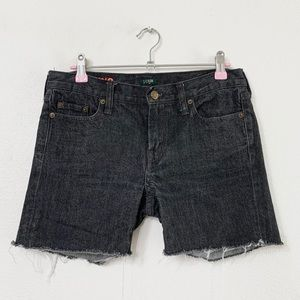 J Crew Hipslung Upcycled Cutoff Black Jean Shorts